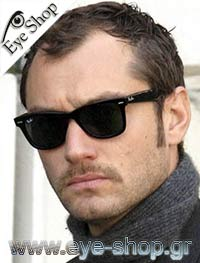 Jude Law wearing RayBan Wayfarer Sunglasses model 2140 Wayfarer color 12943M