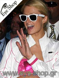 Paris Hilton wearing white RayBan wayfarer Sunglasses model 2140 Wayfarer color 12963M