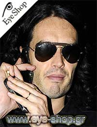 Russel Brand wearing Rayban Leathers collection polarised  Sunglasses model 3422Q color 919233