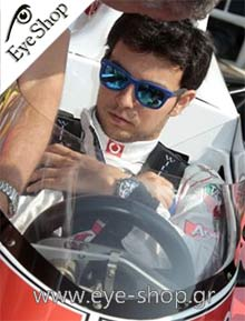 Sergio Perez - Formula 1 driver wearing rayban folding sunglasses model 4105 Folding Wayfarer color 601S Folding