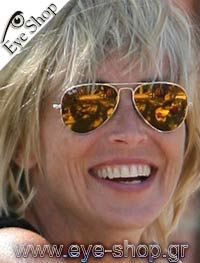 Sharon Stone wearing sunglasses RayBan 3025 aviator