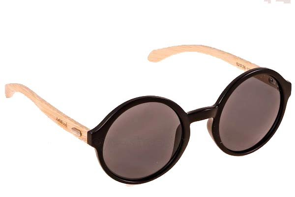 Sunglasses Artwood Milano Bambooline Oval MP200 Matte Black - bamboo temples