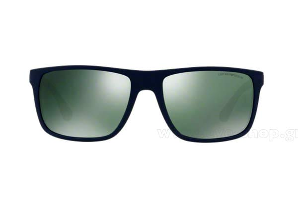4fecbcfca736 Frame Color matte blue gray Rubber - Lenses Color Green mirror. Emporio  Armani ...