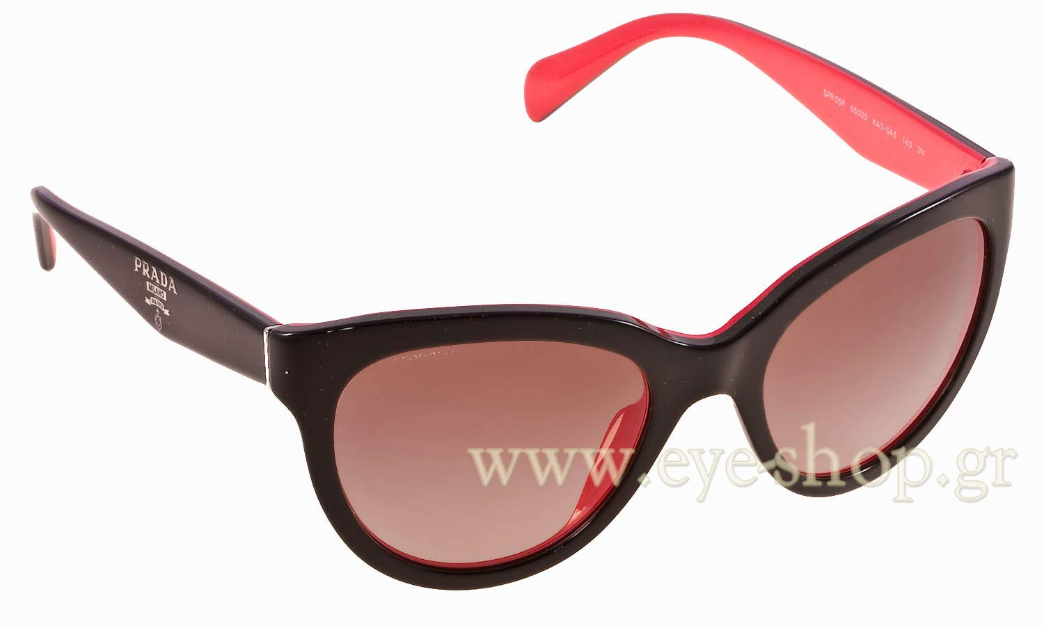 6f772f73ed23 Cateye , color black red plastic , lenses Brown gradient organic plastic.  Enlarge Colors Discontinued. Sunglasses Prada 05PS KA30A5