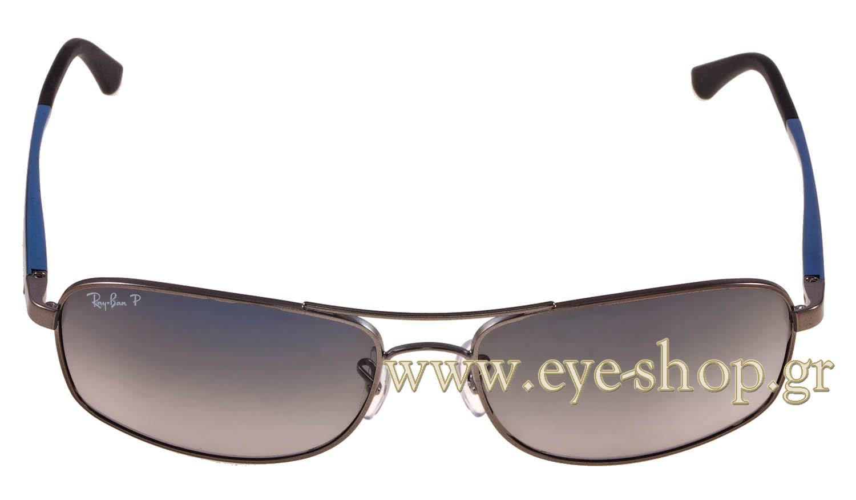 6d5046d804102 Frame Color matte silver - Lenses Color gray shaded krystal AR coated  Polarized. Rayban model 3484 color 029 78 Polarized