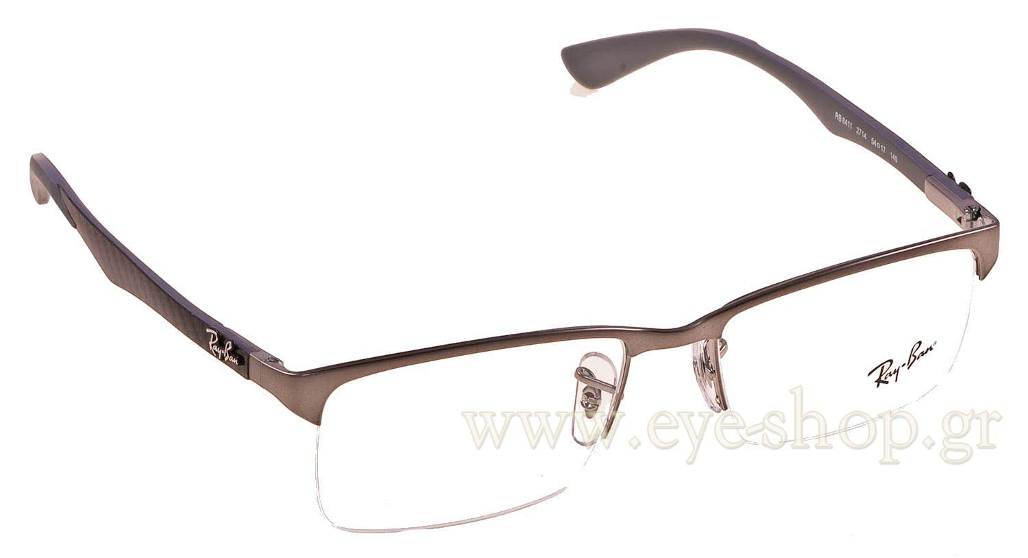 ray ban 8411  rectangular , color silver metal. extreme magnification eye shop. glasses rayban 8411 2714 carbon