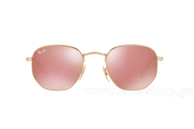 f2eaa5e986 Frame Color gold brown - Lenses Color pink mirror krystal FLAT. Rayban  model 3548N color 001 Z2 Hexagonal