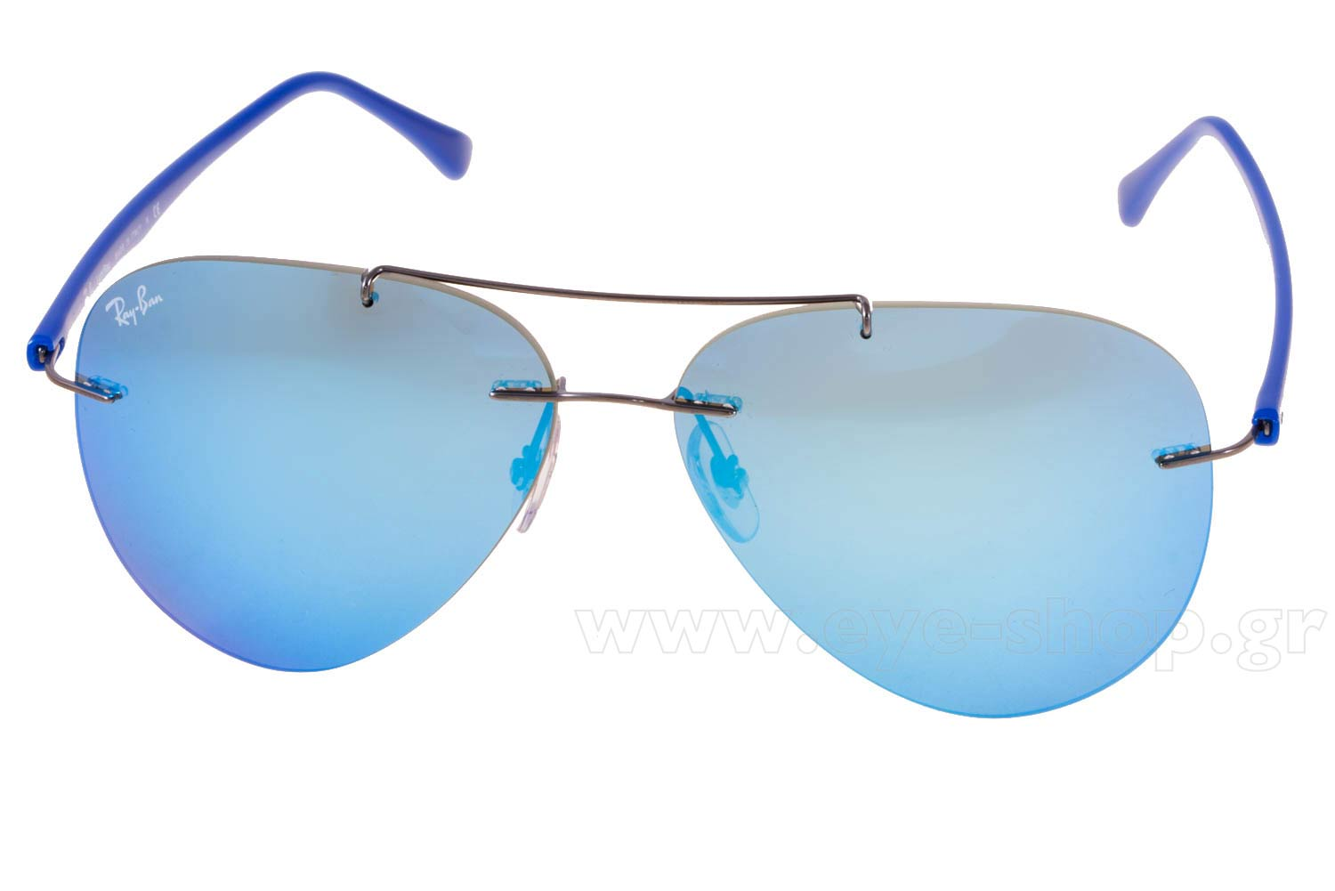 c0cd2827fd3 Frame Color gunmetal - Lenses Color Blue mirror. Rayban model 8058 color 004  55