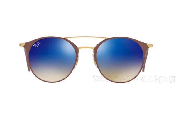 71cbc51a980 Frame Color GOLD TOP BEIGE - Lenses Color Blue mirror blue flash gradient.  Rayban model 3546 color 90118B
