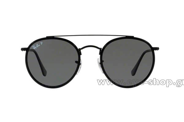 64acf7016a Frame Color Black - Lenses Color gray glass polarized flat. Rayban model  3647N Round Double Bridge ...