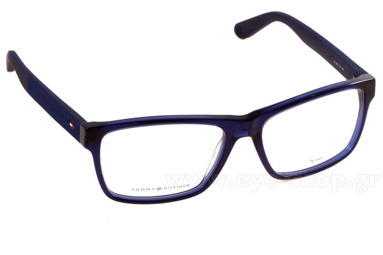 Tommy Hilfiger Plastic Rectangular Eyeglasses 54 0KUN Black Matte Black